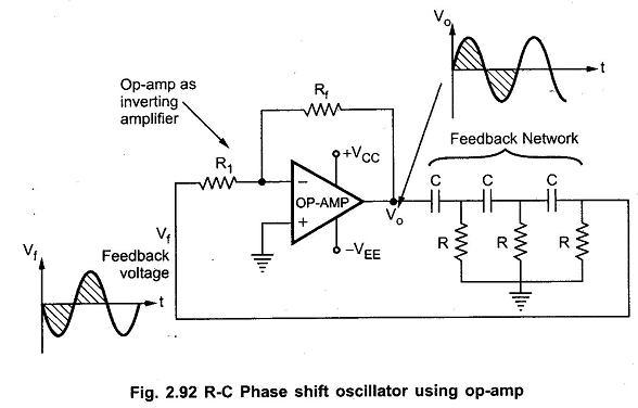 rc phase shift oscillator \u2013 eeebooks4usine wave generators using op amp 7